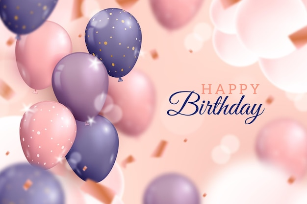 Fundo de balões realista feliz aniversário