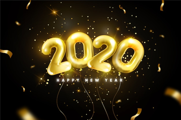 Fundo de balões realistas ano novo 2020