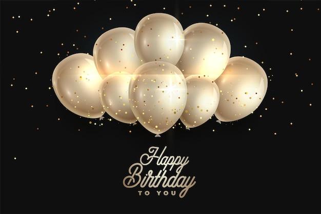 Fundo de balões realistas de feliz aniversário