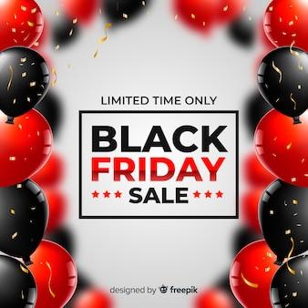 Fundo de balões realistas preto venda sexta-feira