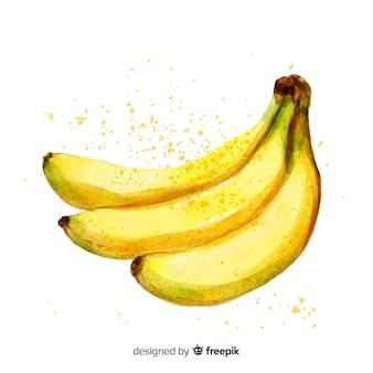 Fundo de banana aquarela