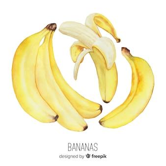 Fundo de banana realista em aquarela