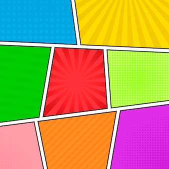 Fundo de banda desenhada. painéis coloridos diferentes. raios, linhas, pontos.