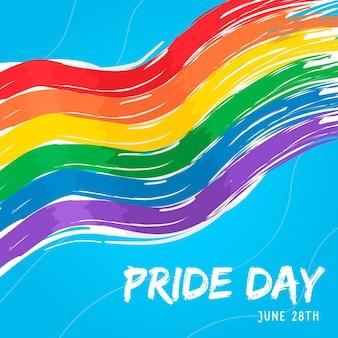 Fundo de bandeira do dia do orgulho em aquarela
