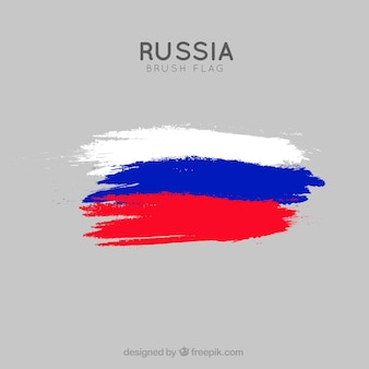 Fundo de bandeira russa de traçado de pincel