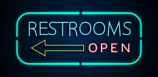 Fundo de banheiros de sinais de néon