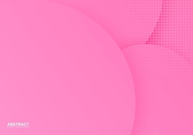 Fundo de banner abstrato com círculo rosa com ilustração vetorial de meio-tom