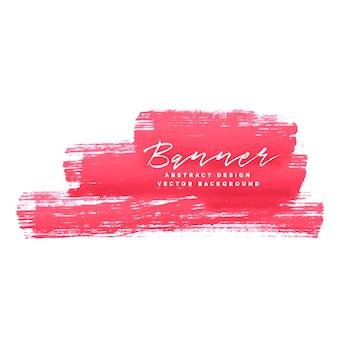 Fundo de banner abstrato grunge de traço de tinta rosa