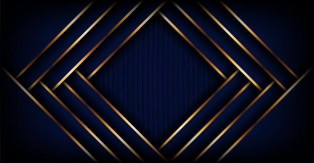 Fundo de banner azul escuro luxo abstrato com forma dourada