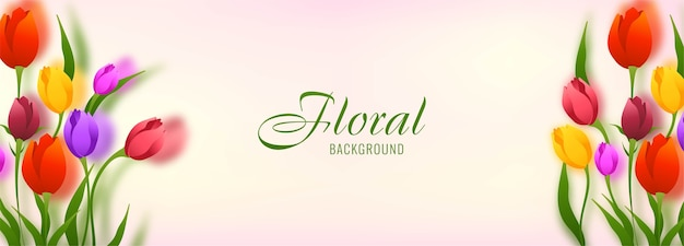 Fundo de banner com lindas tulipas e flores coloridas