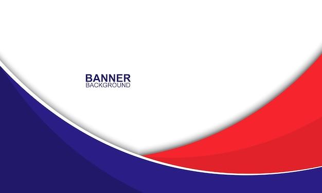 Fundo de banner comercial azul e vermelho com listras curvas ilustração vetorial