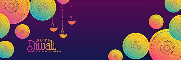Fundo de banner criativo diwali em cores vibrantes