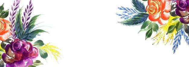 Fundo de banner criativo elegante flores coloridas
