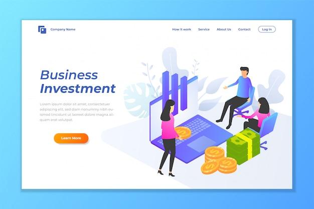 Fundo de banner da web de investimento de negócios