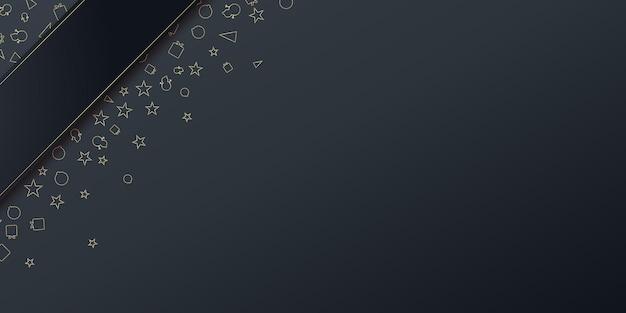 Fundo de banner de apresentação de saudações de natal com ícone de presente de árvore estrela e estrelas na cor preta ...