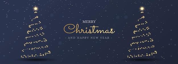 Fundo de banner de cartão de natal com árvore de luz de natal
