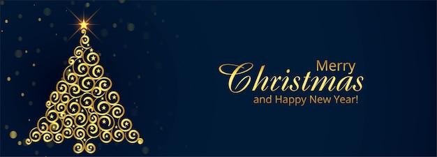 Fundo de banner de cartão de natal com árvore dourada