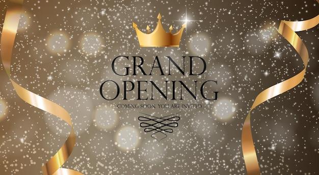 Fundo de banner de convite de luxo de inauguração