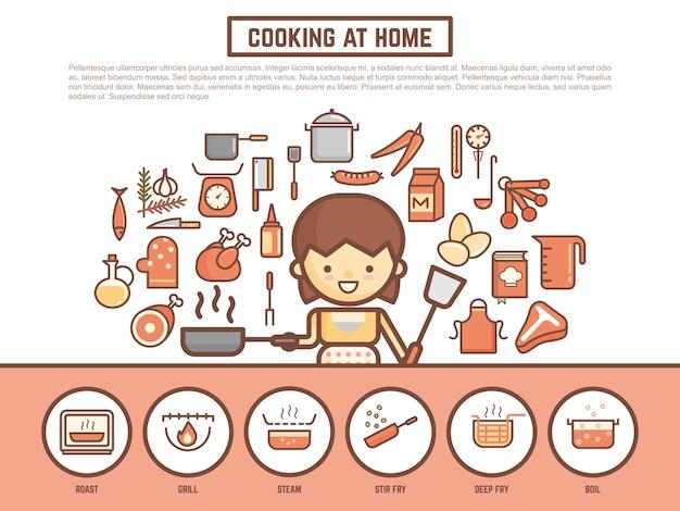 Fundo de banner de culinária caseira