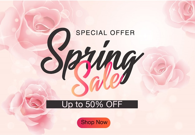 Fundo de banner de desconto de venda de primavera
