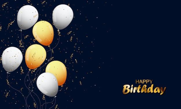Fundo de banner de feliz aniversário com glitter dourado de balão branco e dourado. ilustração vetorial.