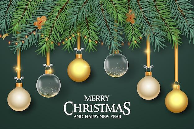 Fundo de banner de feliz natal com decoração realista
