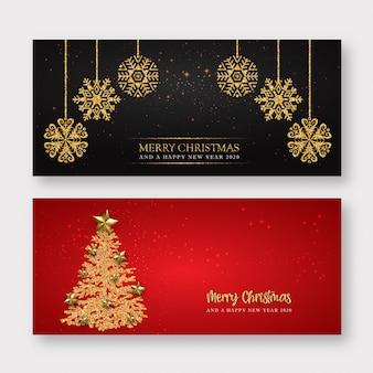 Fundo de banner de feliz natal vermelho e dourado