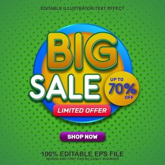 Fundo de banner de grande venda com efeito de texto editável