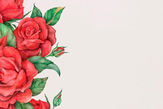 Fundo de banner de mídia social com borda de rosa vermelha