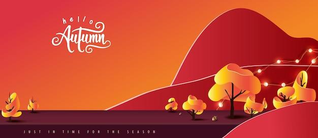 Fundo de banner de outono com display de produto de sala de mesa de estúdio decorar paisagem de árvores de outono