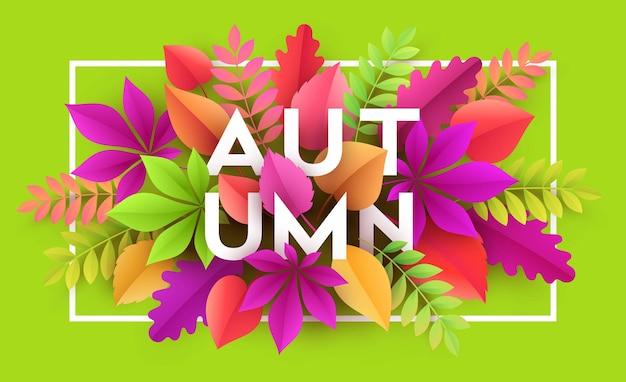 Fundo de banner de outono com folhas de outono de papel. ilustração vetorial eps10