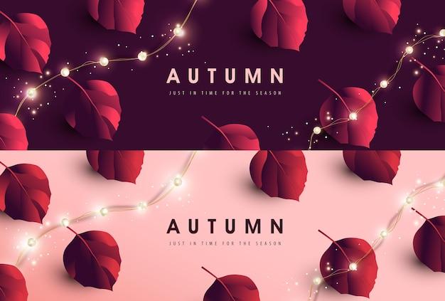 Fundo de banner de outono com variedade de folhas de outono caindo e luzes de corda led