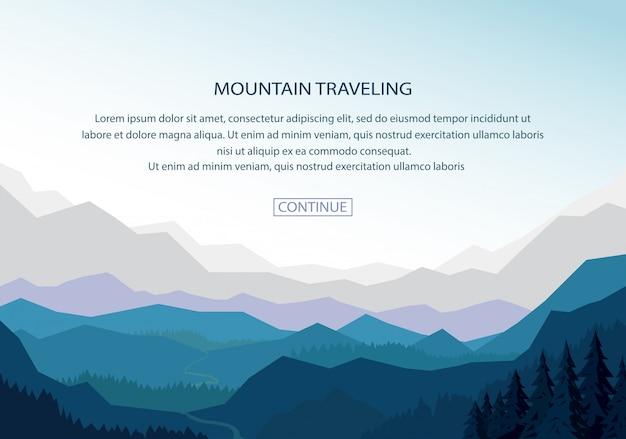 Fundo de banner de paisagem de montanha