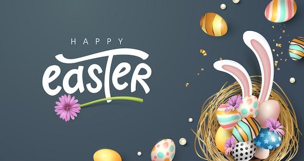 Fundo de banner de páscoa feliz. ovos de páscoa coloridos tradicionais com ornamentos diferentes.
