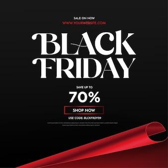 Fundo de banner de super venda black friday com estilo de corte de papel 3d vermelho