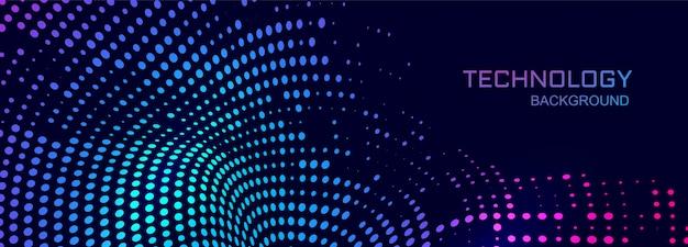 Fundo de banner de tecnologia com conexão design pontilhado
