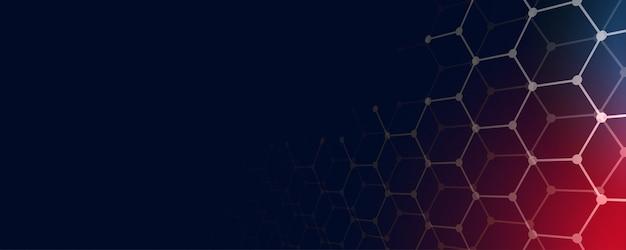 Fundo de banner de tecnologia com formas hexagonais e espaço de texto