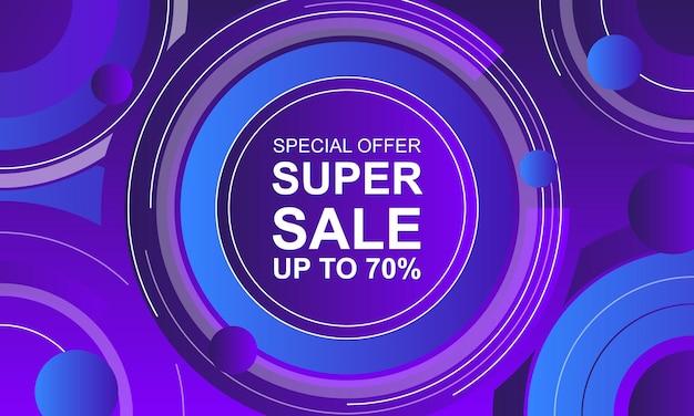 Fundo de banner de venda com círculos gradientes azuis e roxos.