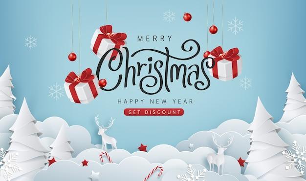 Fundo de banner de venda de feliz natal. texto de feliz natal letras caligráficas.