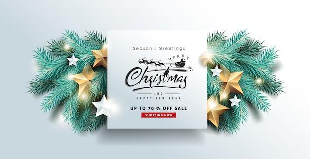 Fundo de banner de venda de feliz natal