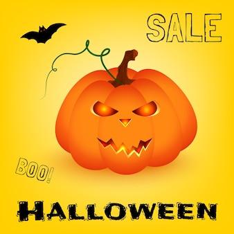 Fundo de banner de venda de halloween. ilustração em vetor