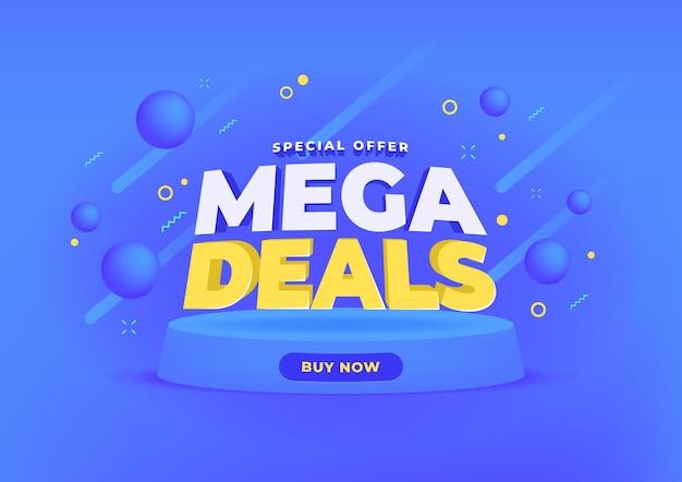 Fundo de banner de venda de mega ofertas.