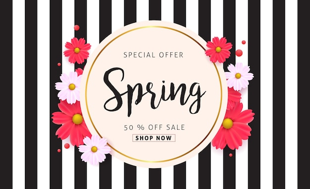 Fundo de banner de venda de primavera com flor.