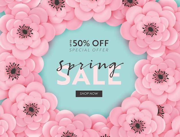 Fundo de banner de venda de primavera com flores de corte de papel e elementos florais. modelo de voucher de desconto de primavera, folheto, cartaz, promoção publicitária. ilustração vetorial