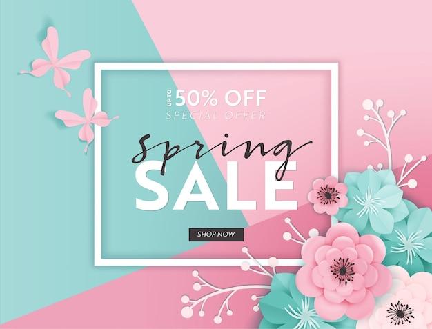 Fundo de banner de venda de primavera com flores de corte de papel. modelo de voucher de desconto de primavera, folheto, cartaz, promoção publicitária. ilustração vetorial