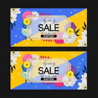 Fundo de banner de venda de primavera com padrão de flor