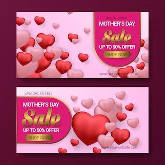 Fundo de banner de venda do dia da mãe