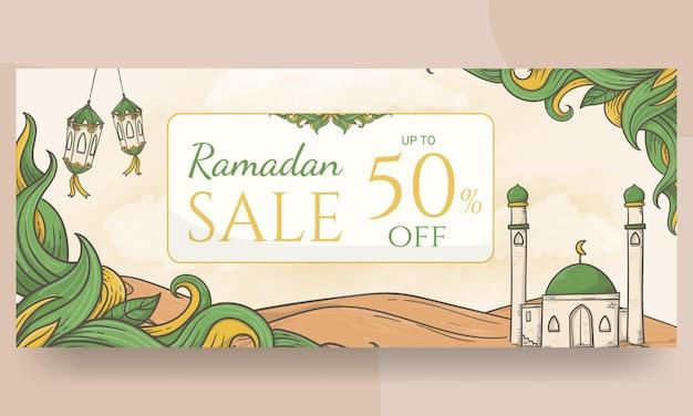 Fundo de banner de venda do ramadã desenhado à mão