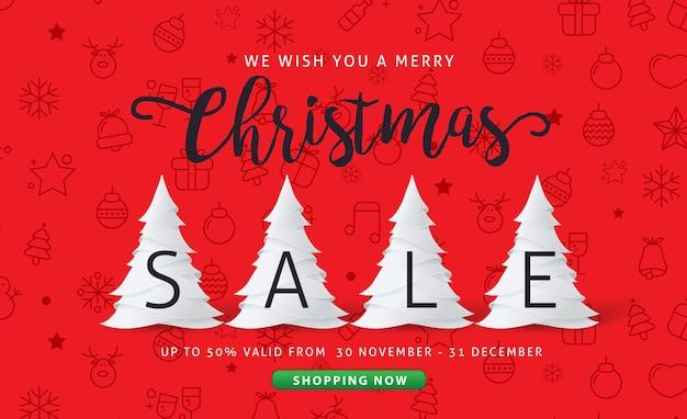 Fundo de banner de venda feliz natal e feliz ano novo
