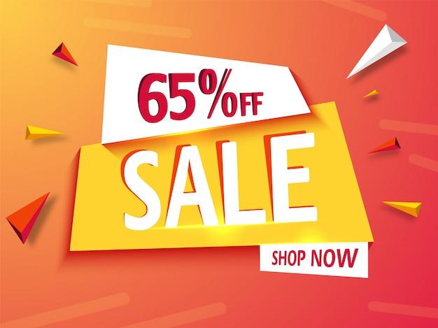 Fundo de banner de venda ou design de cartaz com oferta de 65%.